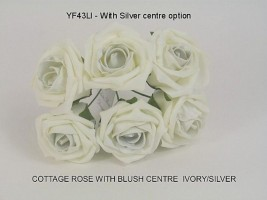 YFB43LIS  6 x 6 CM IVORY COTTAGE ROSE WITH A SILVER CENTRE IN COLOURFAST FOAM