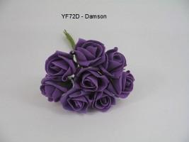 YF72D  ROSEBUDS IN DAMSON  COLOURFAST FOAM 8 X 3 CM