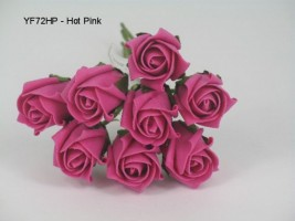 YF72HP  ROSEBUDS IN HOT PINK COLOURFAST FOAM 8 X 3 CM