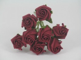 YF72B  ROSEBUDS IN BURGANDY COLOURFAST FOAM 8 X 3CM