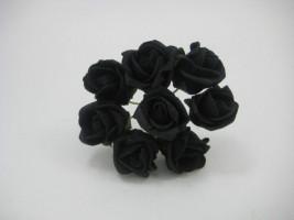 YF72BL ROSEBUDS IN BLACK COLOURFAST FOAM 8 X 3 CM