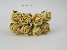 YF72GD  ROSEBUDS IN GOLD COLOURFAST FOAM 8 X 3 CM