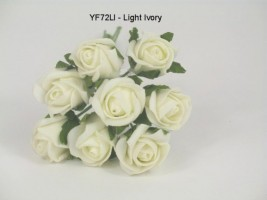 YF72LI ROSEBUDS IN LIGHT IVORY COLOURFAST FOAM 8 X 3 CM