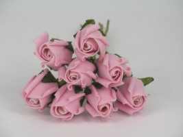 YF72LP  ROSEBUDS IN LIGHT PINK COLOURFAST FOAM 8 X 3 CM