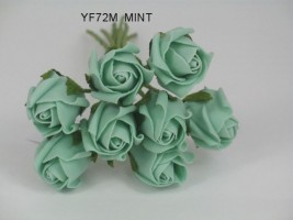 YF72M  ROSEBUDS IN MINT GREEN COLOURFAST FOAM 8 X 3 CM