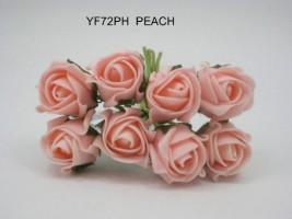 YF72PH  ROSEBUDS IN PEACH COLOURFAST FOAM 8 X 3 CM