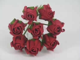 YF72RR  ROSEBUDS IN RUBY RED COLOURFAST FOAM 8 X 3 CM