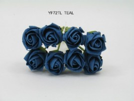 YF72TL  ROSEBUDS IN TEAL COLOURFAST FOAM 8 X 3 CM