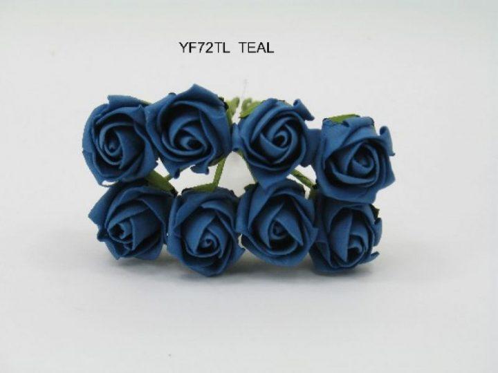 YF72TL  ROSEBUDS IN TEAL COLOURFAST FOAM 8 X 3 CM