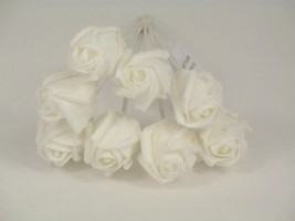 YF72WW  ROSEBUDS IN ALL WHITE COLOURFAST FOAM 8 X 3 CM