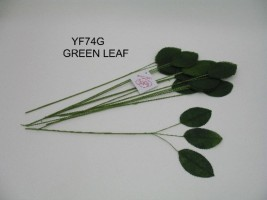 YF74G 12 x 3 ROSE LEAVES IN GREEN