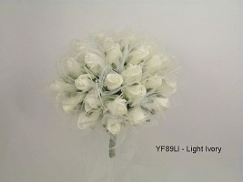 YF89LI  Large Shimmer Sparkle Posy in  Ivory Colourfast Foam Roses