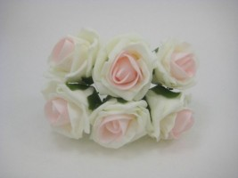 YFB43LIBP  6 X 6 CM IVORY COTTAGE ROSE WITH PRETTY BABY PINK CENTRE IN COLOURFAST FOAM
